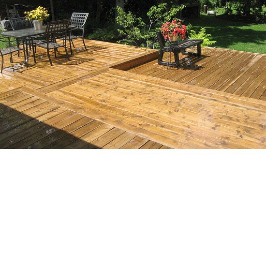 Custom wood deck with multiple layers