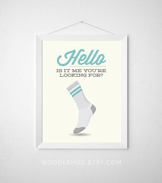 Laundry Room Print - Hello, is it me you're looking for? - Poster wall art missing sock minimal modern aqua teal funny laundry room decor