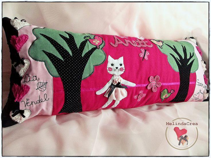 Girl Pillow: kitten, flowers, birdies, butterflies, hearts, ribbon bows ... ~ handmade by MelindaCrea