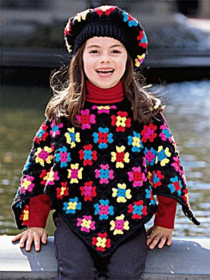 Free Crochet Pattern: Granny Square Kids Poncho  Lion Brand® Wool-Ease® Sportweight  Pattern #: 1308AD