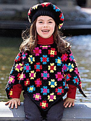 Adorable Granny Square Kids Poncho free crochet pattern