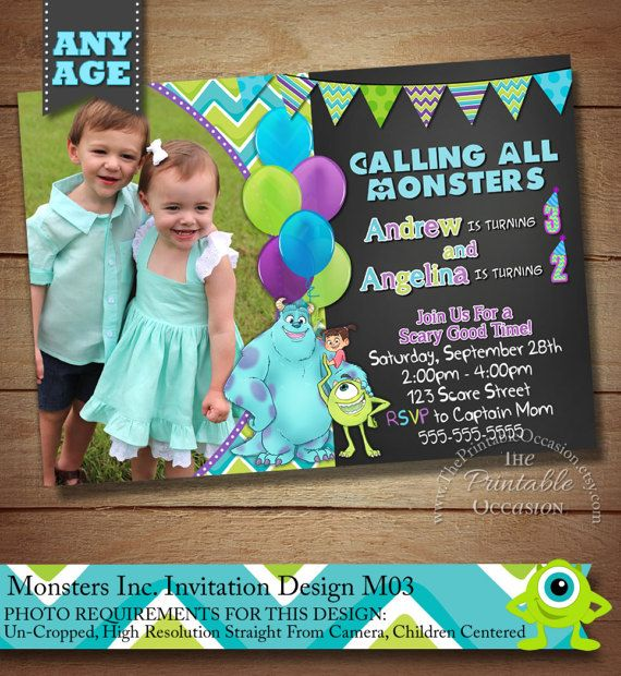 ► MORE MONSTERS INC CARDS & PRINTABLES http://etsy.me/2ktJxGc   MONSTERS INC INVITATION FOR TWINS or SIBLINGS PRINTABLE DIGITAL FILE  Do you have big Mike Wazowski and James P. Sullivan fans at home thats just craving a Monsters Inc birthday party? Then look no further than these trendy and vibrant invitations to help make their dreams come true! What a great first impression for your childrens not so scary celebration!! Whos ready to party!!  Once I receive all of the info...
