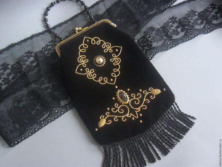 """Купить Сумочка """"Бархат ночи"""" - черный, орнамент, золотой, черно-золотой, сумочка ручной работы"""