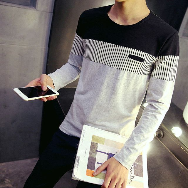 Fashion Mens T shirts 2016 New Arrival Autumn T-shirt Men New Spell Color Round Neck Long Sleeve Men Shirt Size M-5XL
