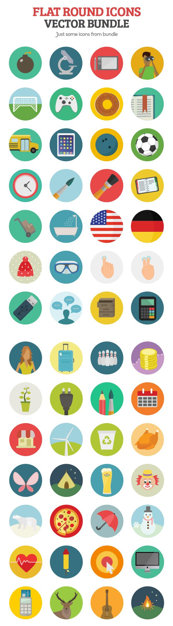 1000 Flat Round Icons Vector Bundle #vectoricons #flaticons #roundicons