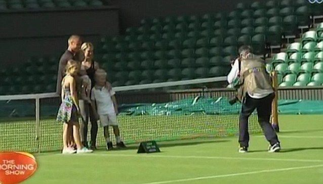 Lleyton Hewitt has on-court photo shoot with Bec and family as he chats about his first round of Wimbledon tournament 2015 prior to the match.