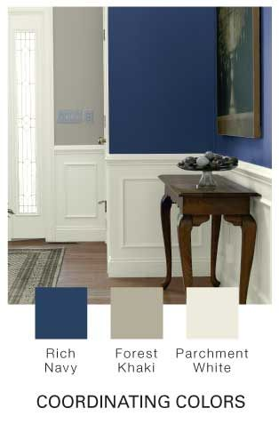 Rich Navy By Glidden For The Dining Room Colors Bleed Into Kitchen Do Design With Glossy Over It On One Wall