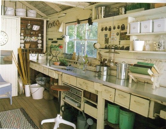 LOVE this far more realistic idea: a workshop...not a cutesy space with color coordinated paper on the shelves, but a real WORK place.