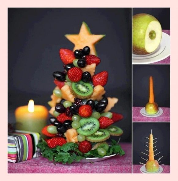 Holiday treat tree made of healthy, delicious fruits. This one even has a base/trunk made of fruit/vegetable, which is different than most tutorials (styrofoam base) I've seen.