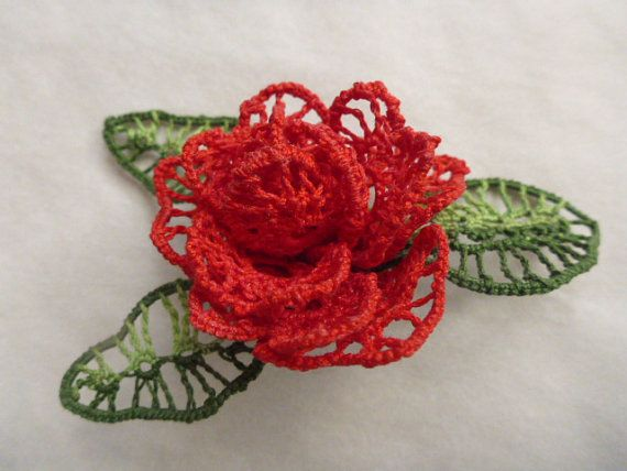 This is a digital pattern and tutorial in pdf format for a 5-6cm (2-3) tatted 3D rose pin, ready for an instant download. This tutorial will take