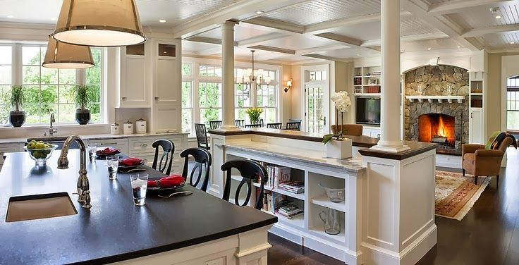 Open concept kitchen to great room beautiful shelf for House plans with separate kitchen