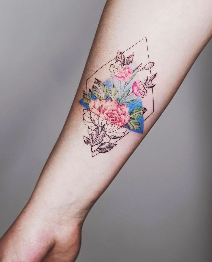 geometric flower tattoo color - photo #36