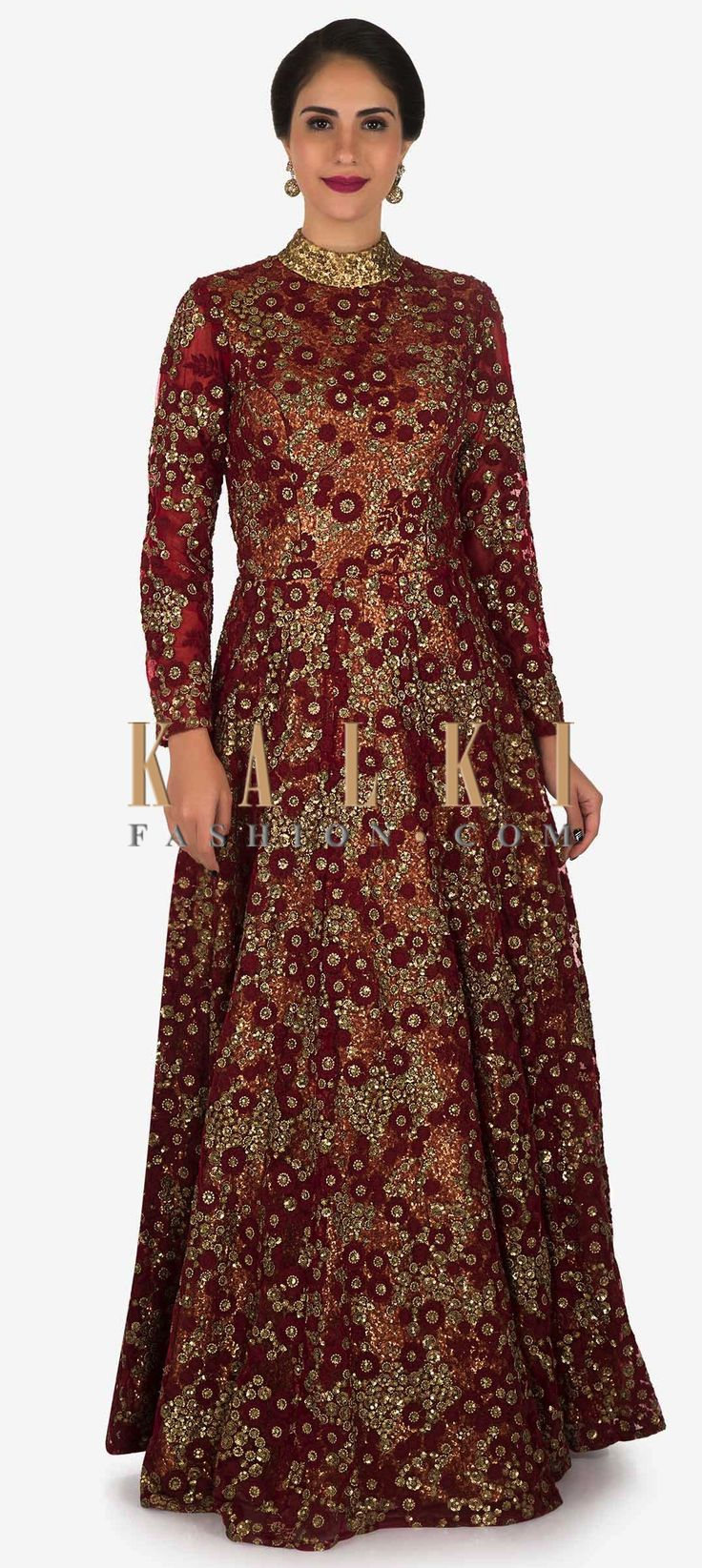 Buy Online from the link below. We ship worldwide (Free Shipping over US$100)  Click Anywhere to Tag Red anarkali gown featured in embroidered lace with sequin lining only on Kalki This red anarkali gown is here to make you fall in love with it. The gown is beautifully decorated with heavy sequin underlining and is further extended in a red embroidered lace that is the major highlight of the entire outfit. It flaunts the maharani neck pattern with a deep and is here to stay!.