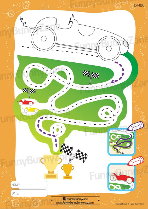 Printable Race Car Coloring Page With Easy Maze Activity For Toddlers Birthday Party Game
