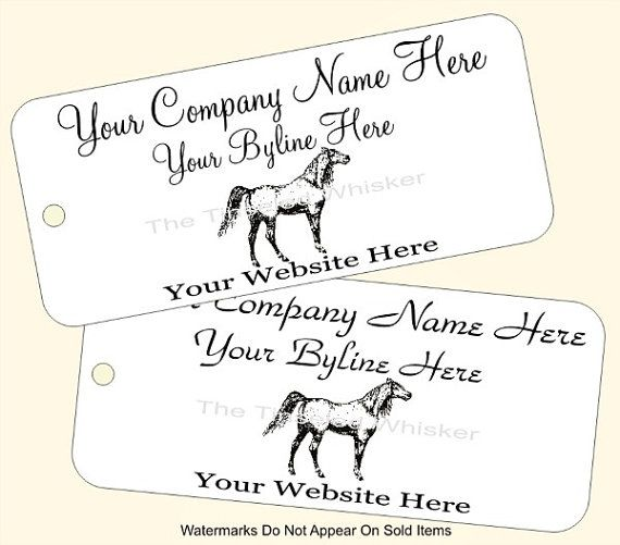 These Arabian horse tags are custom printed with your business information. They are handmade and great for use as price tags and business branding at boutique shops and craft fairs. Starting at 25 #equine #custom #marketing #tags for $7.50