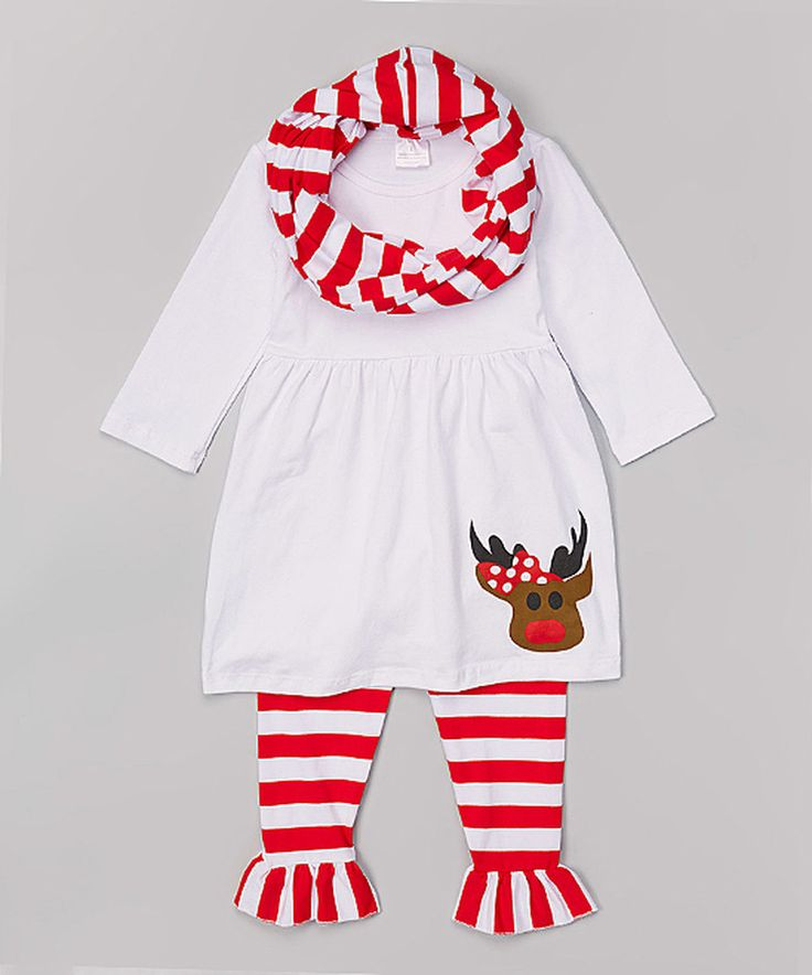 Loving this Sweet Cheeks White & Red Reindeer Tunic Set - Infant, Toddler & Girls on #zulily! #zulilyfinds