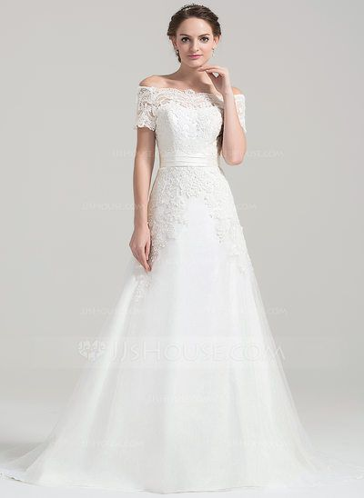 Robe Princesse Hors-la-épaule Traîne moyenne Tulle Dentelle Robe de mariée (002084743)