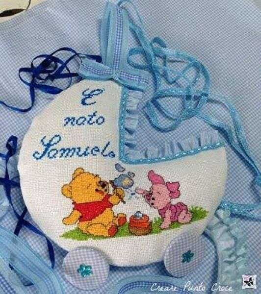 Fiocco nascita Winnie the Pooh carrozina