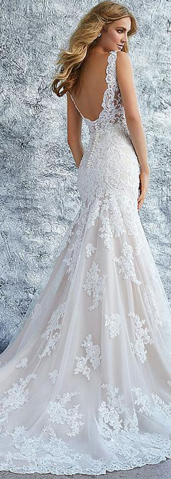 Mermaid Wedding Dresses : Chic Tulle & Organza V-neck Neckline Mermaid Wedding Dress With Beaded Lace