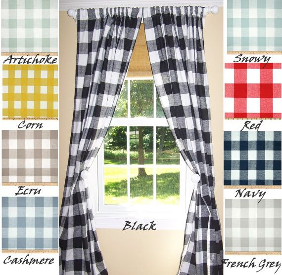 Black Check Curtains 9 Colorsblack By Cathyscustompillows