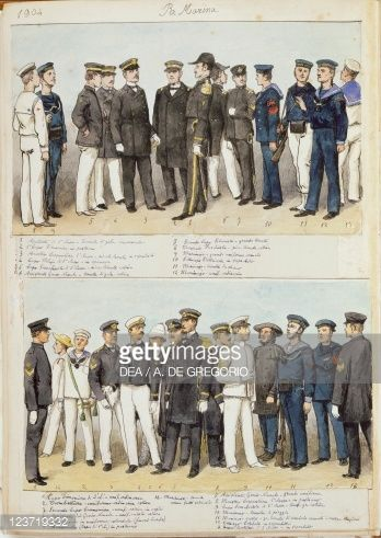 Foto de stock : Uniforms of Royal Navy of Kingdom of Italy, color plate by Quinto Cenni, 1904