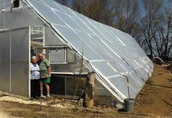 Bob's A-Frame Greenhouse — You can build a greenhouse like this too! http://www.northerngreenhouse.com/