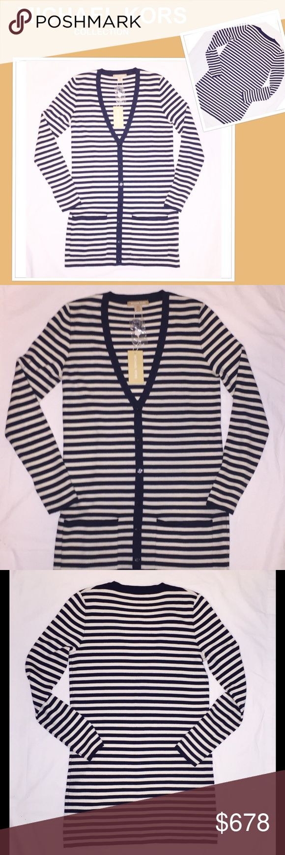 Michael Kors Collection Cashmere Cardigan This luxurious midnight/white striped Michael Kors Collection v-neck cashmere cardigan is incredibly soft and warm. Listed size XS, but can fit a size 4 comfortably. Tag and extra thread included. Perfect for so many occasions...wear it on a cold plane or office or on a chilly night to mention a few. Michael Kors Collection Sweaters Cardigans