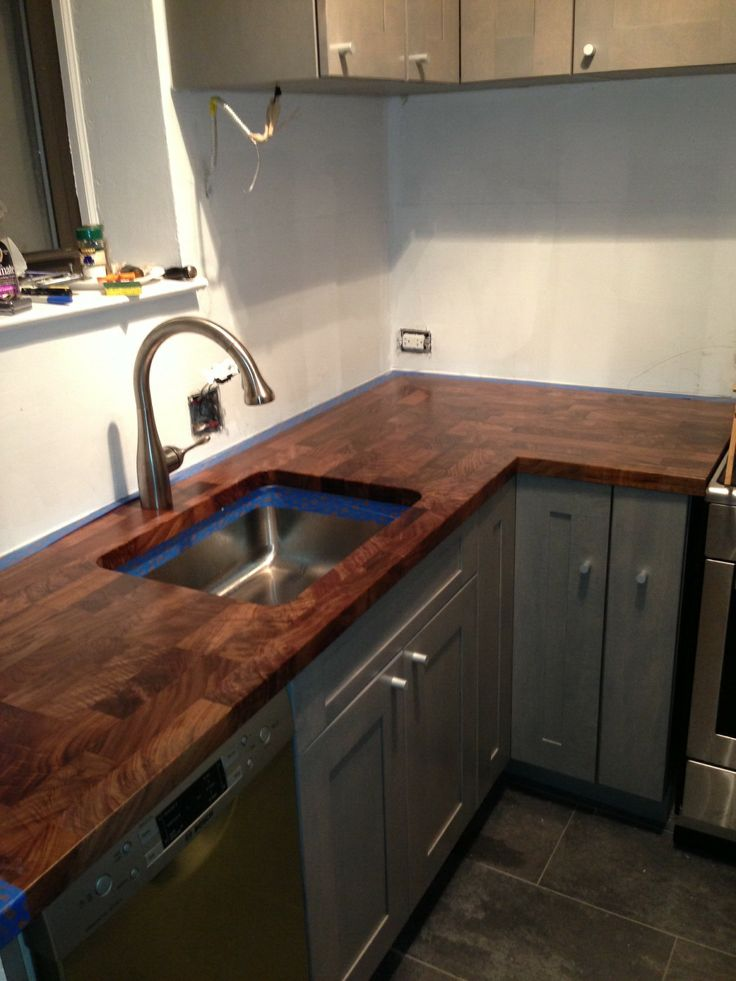 Eco pro walnut countertop with undermount sink cutout How to install butcher block countertop