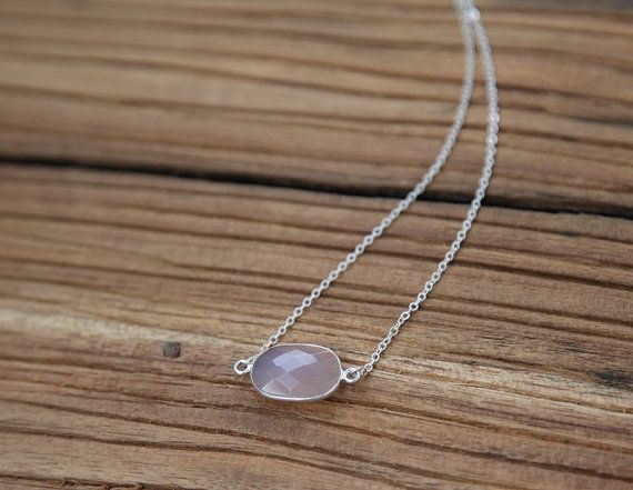 Rose quartz and sterling silver chain Raindrop necklace
