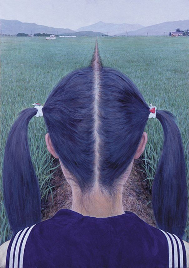 This optical illusion is a work by Japanese artist Makoto Aida titled AZEMICHI (a path between rice fields). Business Week says that this acrylic painting is a parody of the best-known work of Kaii Higashiyama, a major figure in Japanese modern painting. Makoto Aida was at a loss what to do after graduating from a prestigious art college in 1991 and took nearly a year to paint this picture.