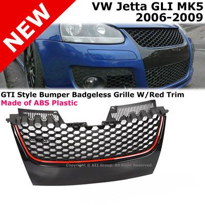 2006-2009 VW MK5 Jetta GLI / GTI Badgeless Mesh Grille - Black w/ Red line MKV