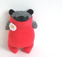 Little Speckled SockBear Daisy, coral pink sweater plush