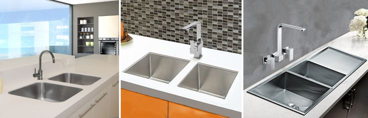 Twin Sink Package - 2 x Square Round edges Kitchen Sink Bowls with 1 x Pin Gooseneck Swivel Sink Mixer, Twin Sink Package - 2 x Square Kitchen Sink Bowls with 1 x Square Swivel Sink Mixer, Sink Package - 1.75 bowls Kitchen Sink with drainer with 1 x Square wall sink taps from Bathrooms and Kitchens Builders Express Underwood, website www.bathroomsnkitchens.com.au