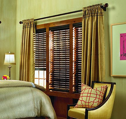 Green And Gold Bedroom Design With Dark Wood Blinds And