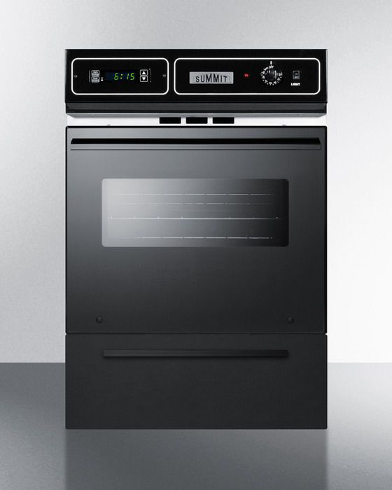 "Summit TTM7212DK 24"" 2.92 cu. ft. Total Capacity Gas Single Wall Oven in Black"