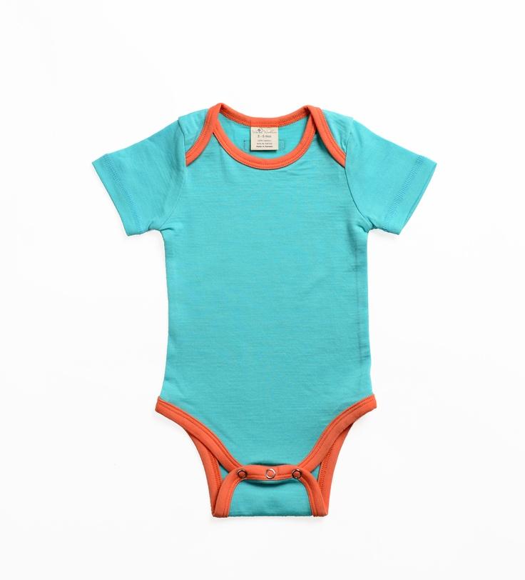 Wee Woollies Merino Short-Sleeve. Made in Canada. 0-3mos, 3-6mos, 6-12mos, 12-18mos.