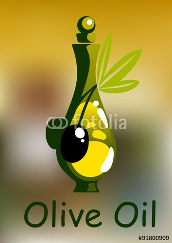 Вектор: Olive oil bottle with rounded stopper