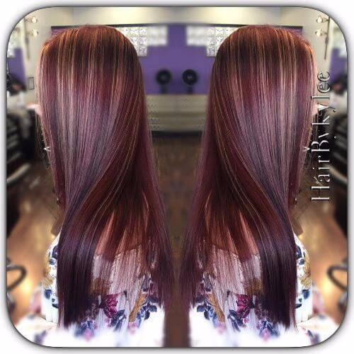 burgundy balayage on blonde hair
