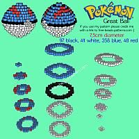 3D Great Ball free Pokemon perler beads hama beads pyssla pattern