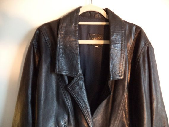 80's glam Italian black leather coat// Vintage Vera Pelle// Over sized jacket// Women's size med 42 EUR or 8 USA
