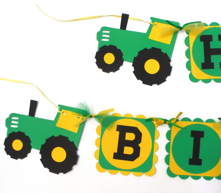 Green and Yellow Tractor Farm Party Theme Happy Birthday Banner John Deere Inspired Tractor Party by ScrapsToRemember on Etsy