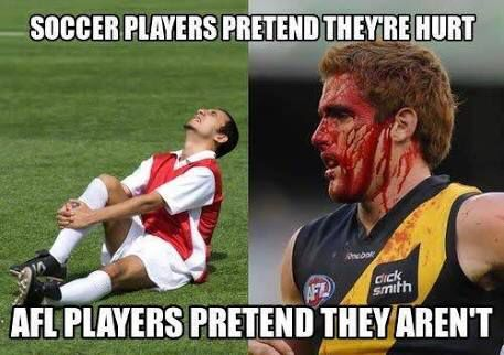 Prompt 1: The beauty of Aussie Rules. If you don't leave the game bleeding you havn't gone in hard enough. Mum's not the biggest fan of it.