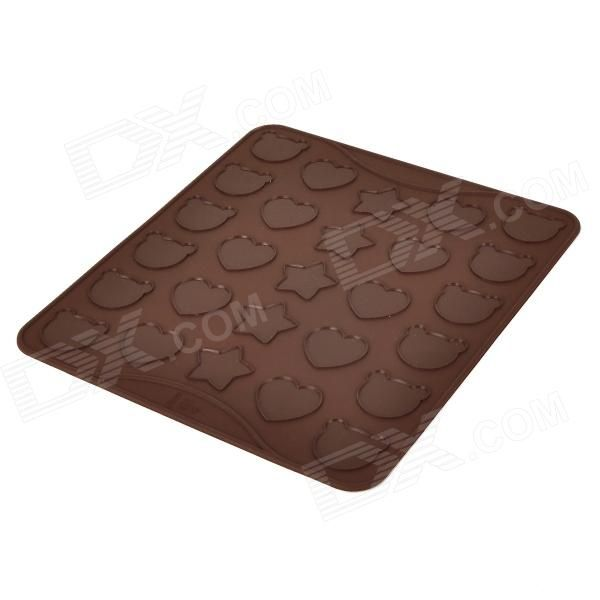 Silicone Bear + Heart-Shaped + Five-Pointed Star Style Cookie Cake Molds Plate - Coffee
