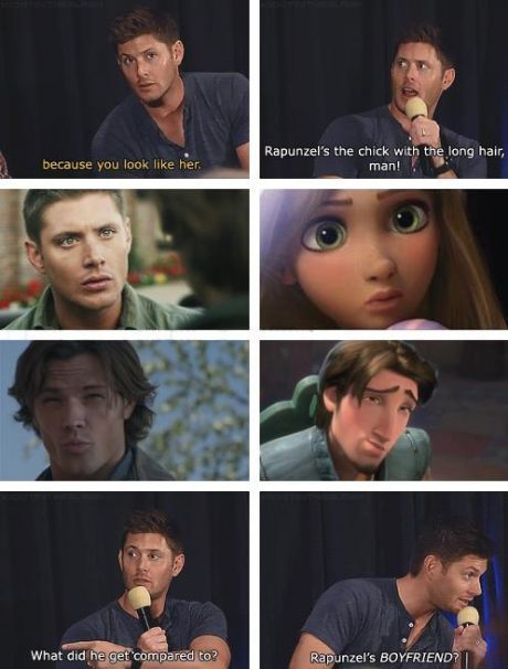 Jensen's response to being compared to Tangled characters