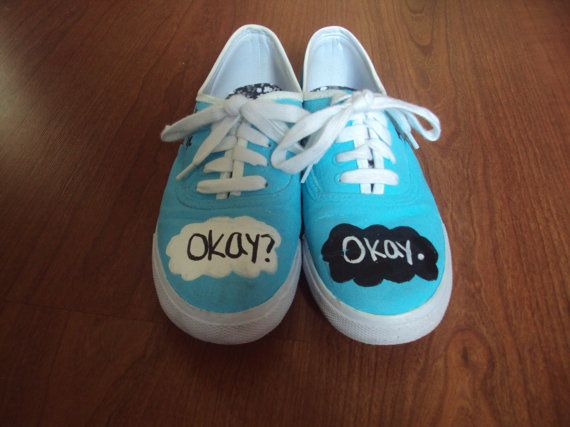 The Fault in our Stars shoes by KayDeeShoes on etsy.com. Based on the book by John Green. SHUT UP AND TAKE MY MONEY! I LOVE THESE SHOES!