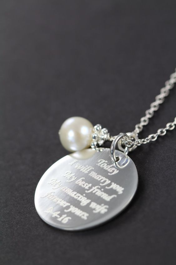 Engraved Pendant Necklace - 30 Best Ideas for Wedding Gift from Groom to Bride - EverAfterGuide