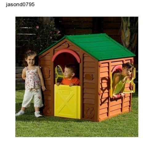 Outdoor Indoor Kids Playhouse Garden Play Toy Plastic Brown Rancho Keter Child