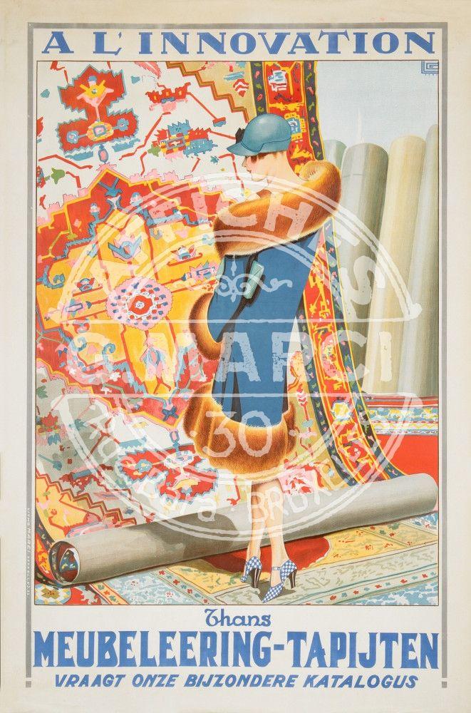 A l'Innovation / Meubeleering-Tapijten / Vraagt onze bijzondere katalogus 1925  Imprimerie Marci, Brussels, Belgium Vintage poster Collection!