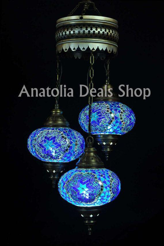 3 Piece Mosaic Lamp Turkish Lamp Ottoman Lighting Chandelier Chandelier  Ottoman Lantern Lighting Lamp Lamps Laterns Indoor Lighting SPIRAL 3