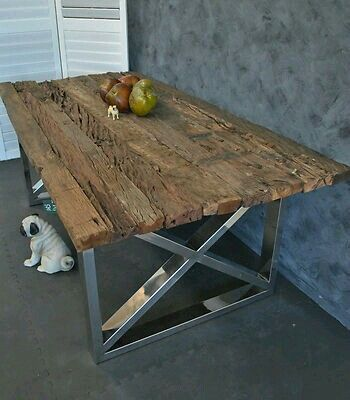 Steel Frame Chromed Upcycled Timber Top